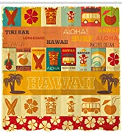 Ambesonne Tikiバーのシャワーカーテン、ハワイのアイコンでレトロな旅行カードパターン休日夏シーズンヴィンテージプリント、布生地浴室装飾セットフック、70インチ、多色