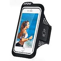 Mpow スポーツアームバンド ランニング アーム バンドケース 超軽量 超薄 防汗 縫い目なし 指紋認証 タッチ対応 イヤホン穴付き 通気性抜群 調節可能 iPhone6s/6、Sony、Huawei P9など5.2インチまでのスマホに対応 ブラック 18ケ月保証付き