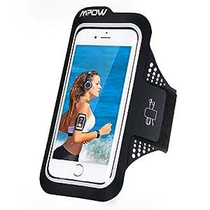 スポーツアームバンド Mpow ランニング アーム バンドケース 超軽量 超薄 防汗 縫い目なし 指紋認証 タッチ対応 イヤホン穴付き 通気性抜群 調節可能 iPhone6s/6、Sony、Huawei P9など5.2インチまでのスマホに対応 ブラック 18ケ月保証付き
