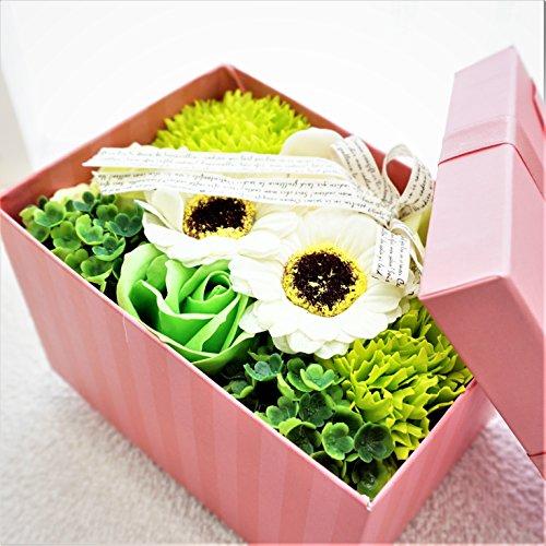 【アウトレットセール】BIOフレグランスソープフラワー ストライプミニボックス フタ付ボックス お祝い 記念日 お見舞い 母の日 ホワイトデー バレンタインデー (グリーン)