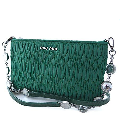 miumiu (ミュウミュウ)マテラッセ ビジューショルダーバッグ ポーチ斜めがけ ポシェットグリーン 緑 シルバー金具ナイロン クリスタル(中古) バッグ レディース