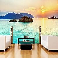 Gyqsouga 3D壁紙現代ファッション海辺の風景自然風景写真壁壁画リビングルームテレビソファ背景壁3D家の装飾-420X280cm
