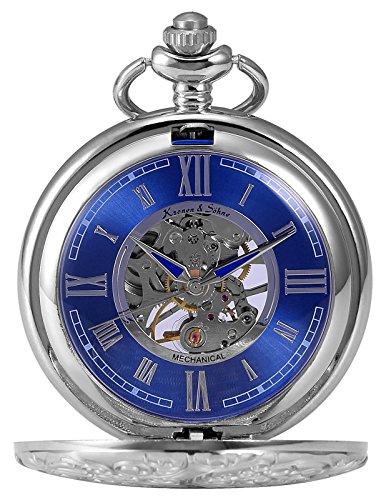 [해외][케에스] KS 회중 시계 태엽 기계식 해골 뚜껑 로마 숫자/[KS] KS pocket watch hand winding mechanical skeleton Roman numerals with lid