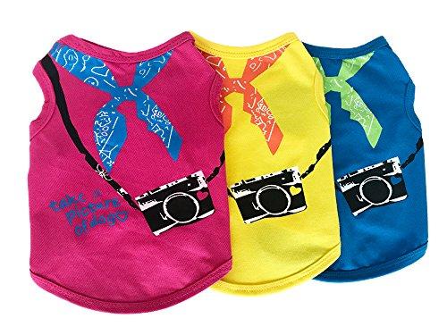 カメラとバンダナのイラストがかわいいカジュアルタンクトップ 全3色4サイズ 【jym wanpson(ジム・ワンプソン)】 タンクトップ Tシャツ ドッグウエア かわいい 人気 夏服 春夏用 ペット服 犬 小型犬 中型犬 (M, イエロー)