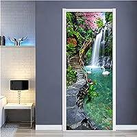 Lcymt 自然風景滝3Dドアステッカー写真の壁紙Pvc自己接着防水ドアステッカー家の装飾壁画デパレデ-250X260Cm