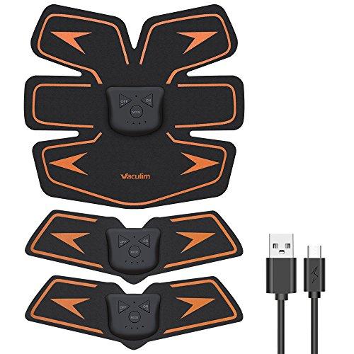 Vaculim EMS 腹筋ベルト USB充電式 腹筋 腕筋 筋トレ器具 トレーニングマシーン 「6種類モード 10段階強度 日本語説明書付属」 (ブラック) (ブラック)