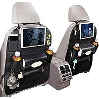 車用収納ポケット Lifinsky シートバックポケット 大容量 カー後部座席収納 レザー製 車内キックガード 1個