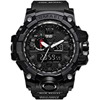 eYotto Men's Sports Watch, Military Digital Wrist Watch Outdoor Waterproof Tactical Army Mens Watches Dual Display Date Alarm Stopwatch-Black