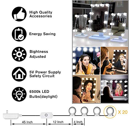 Hollywood Style LED Vanity Mirror Lights Kit, Makeup Light with 10 Dimmable Bulbs and Touch Dimmer for Makeup Vanity Table Set in Dressing Room (10 Bulbs)
