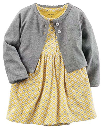 [해외]카 타즈 Carter `s 가디건 반소매 롬퍼 스 원피스 2 종 세트 그레이 겨자 의류 여자 [병행 수입품]/Carter`s Carter`s cardigan Short sleeve Rompers One piece 2 point set Gray mustard Baby clothes Girl [Parallel import goods]