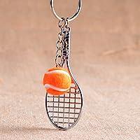 Dalino ファッションとパーソナリティ テニスラケットペンダント メタルキーリング ハンドバッグ カーチャームキーチェーンギフト (オレンジ)