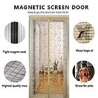 網戸 マグネット式 フルフレーム velcro, 玄関網戸 メッシュ カーテン 自動的に閉じる, ペットに優しい ハンズフリーします。 ブラック-A 85x210cm(33x83inch)