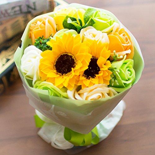 フレグランス ソープフラワー シャボンフラワー 夏にぴったり ひまわり&ローズ 花束 ブーケ FPP-808 (グリーン)
