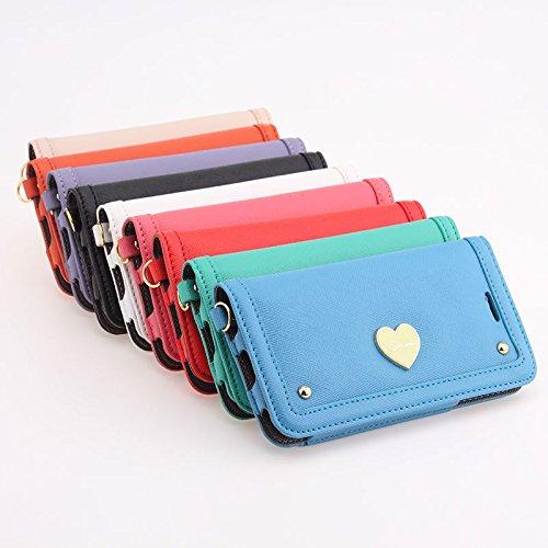 iPhone6 Plus ケース 手帳型 (Smooth ft. Klogi) iPhone6/6S Plus 5.5インチ 可愛いハート手帳型ケース PUレザー横開きケース ICカードのご作動を防ぐ防電磁シートSmooth protect付属限定パッケージ (ローズピンク)