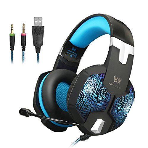 (PS4アダプタ付き)COOAU KOTION EACH G1000 ゲーミングヘッドセット3.5mm超軽量 高音質 重低音 密閉型 騒音隔離ヘッドホン LEDライトヘッドフォン 本体伸縮可ステレオ マイク調節可 音量調節可 PCゲーム用 パソコン スマートホンなどに対応 (青)