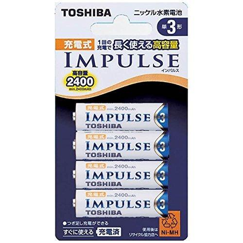 TOSHIBA ニッケル水素電池 充電式IMPULSE 高容量タイプ 単3形充電池(min.2,400mAh) 4本 TNH-3A 4P