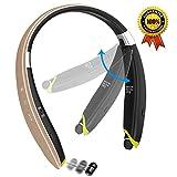 [最新デザイン]Senbowe Bluetooth イヤホン ワイヤレスイヤホン スポーツイヤホン 折り畳み式 Bluetoothヘッドセット ネックバンド式 マイク付き ハンズフリー通話 1年保証付き (ローズレッド)