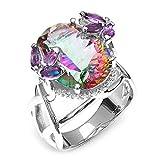 Alonea カラフル プリンセス リング デザイン カラー ダイヤモンド 結婚指輪 婚約指輪 女性用 サイズ 6-10