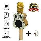 カラオケマイク bluetooth microphone karaoke 魔法 マイクロフォン ハンドヘルド ブルートゥース スピーカー ギター ウクレレ シャープ それによって A USB カラフル ネオン ライト それとして 無料 贈り物 (M9 原木色 木製のNuture)