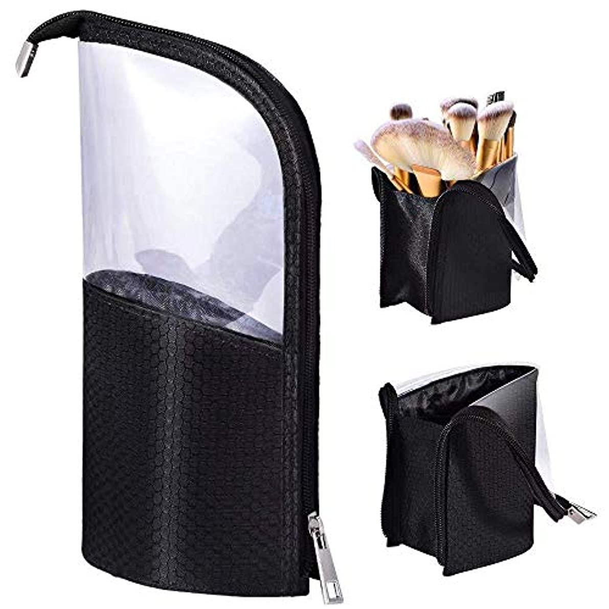 MOMO ペンケース 化粧筆ポーチ 化粧ポーチ 旅行収納 筆箱 小物入れ メイクブラシホルダー バッグ スタンド ケース 24本収納