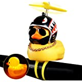 wonuu Rubber Duck Toy Car Ornaments Yellow Duck Car Dashboard Decorations Squeeze Duck Bicycle Horns with Propeller Helmet fo