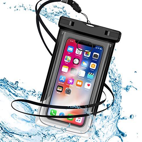 防水ケース 指紋認証対応 IPX8認定 6インチ以下全機種対応 水中撮影 お風呂/潜水/温泉/水泳/釣り/適用 iPhone X/iPhone8/iPhone7/6/Plus ランニングアームバンド付き ストラップ付き (ブラック)