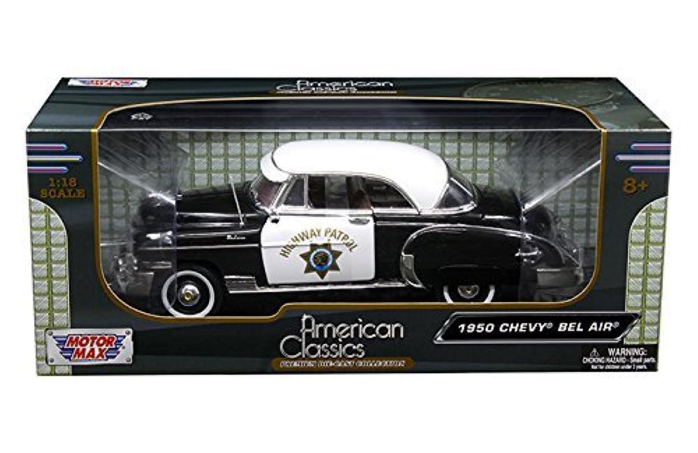 新しい1 : 18 W / B Motor Max American Classicsコレクション – ブラック/ホワイト1950 Chevrolet Bel Air With White Top – California Highway Patrol ( CHP ) DiecastモデルCar by Motor Max
