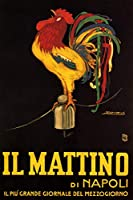 """Il Mattino Diナポリイタリア新聞Rooster Cluckingイタリア16"""" x 24""""イメージサイズヴィンテージポスターREPRO"""