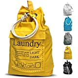 "Teeo Laundry Bag Backpack Spacious 25""X22"" Drawstring Cotton Canvas with Strong Durable Shoulder Straps Washing Storage Organizer College Students Dorm Room (Yellow)"