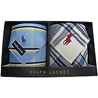 [ポロ ラルフローレン] Polo Ralph Lauren 紳士 メンズ ハンカチ 2枚 ポロ刺繍 専用 箱 入り ブルー / 白チェック