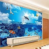 Wuyyii カスタム壁紙フレスコ画写真3Dアンダーウォーターワールドイルカ魚テレビの背景装飾画壁紙-120X100Cm