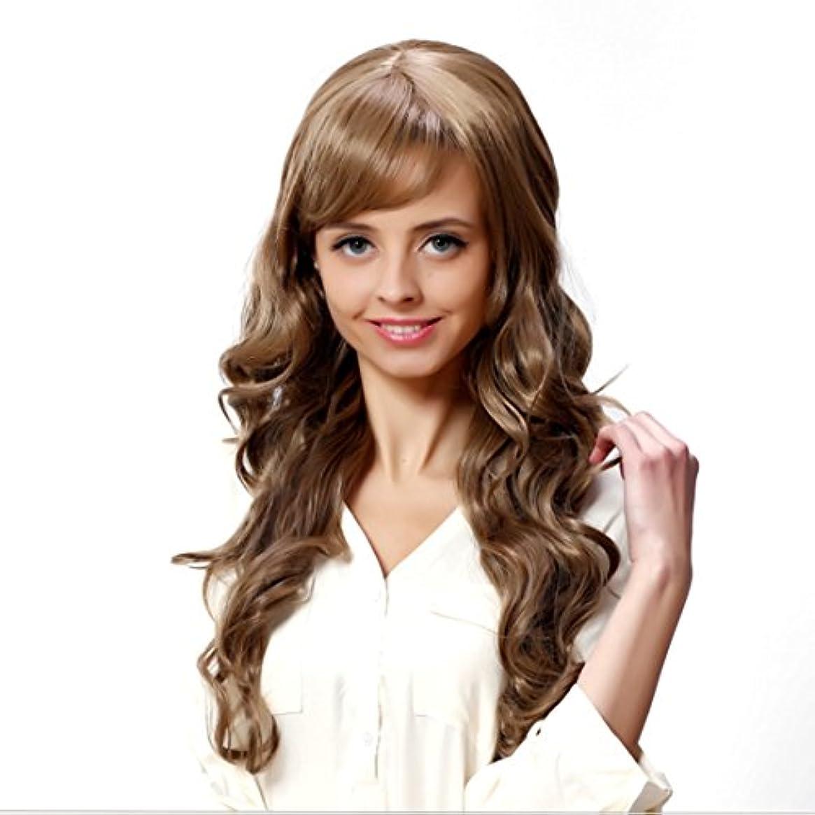 ペースト本宇宙JIANFU 女性のための現実的な大きな波状の長い縮毛のかつらフルサイズの頭のカーリーヘアフラフリな梨のフラワーウィッグ修正された顔の長さ21inch / 22inch(ブラウンブラック/ベージュ)のための斜めバンズウィッグ...