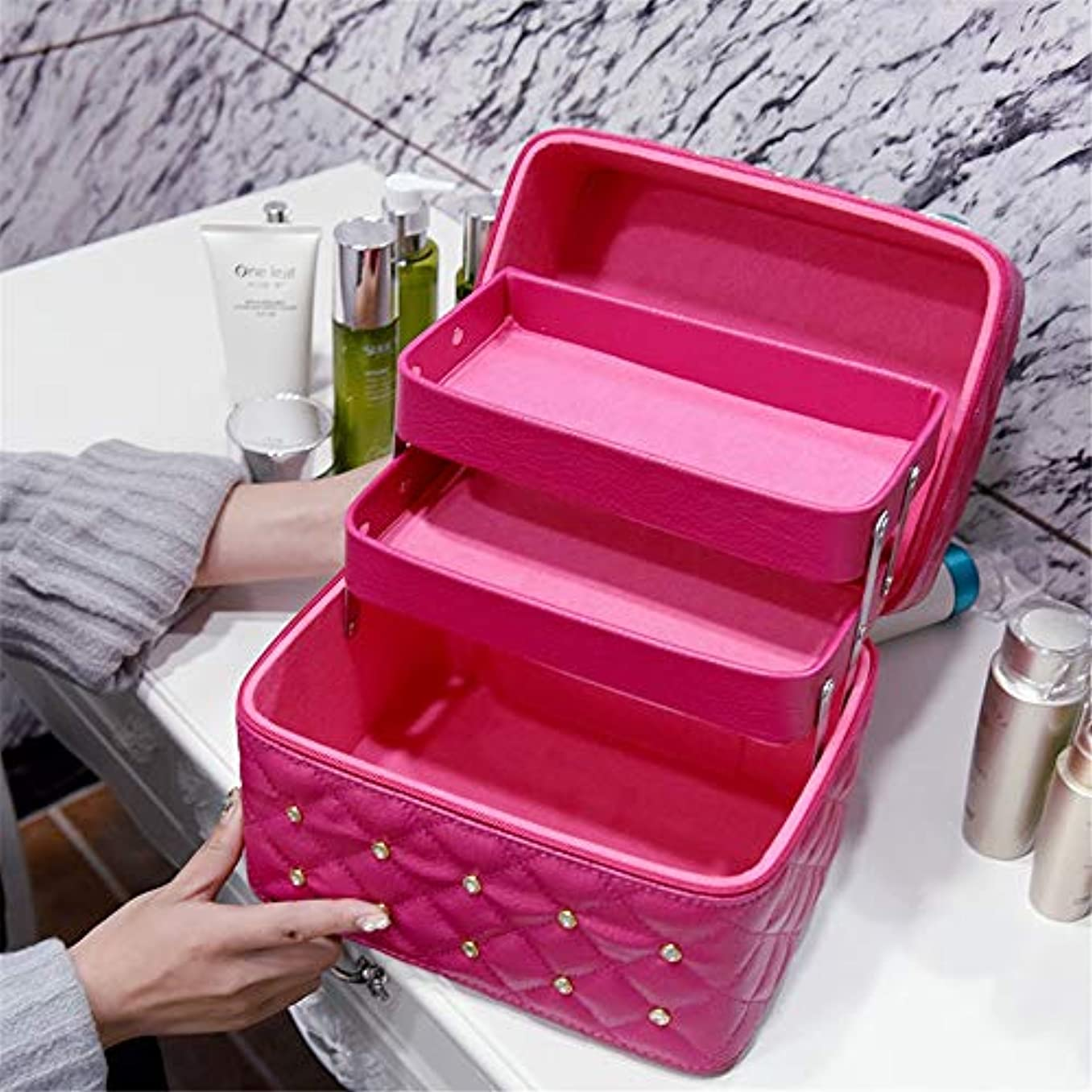 コットン取り扱い段階化粧オーガナイザーバッグ メイクアップトラベルバッグPUレター防水化粧ケースティーン女の子の女性のアーティストのための 化粧品ケース