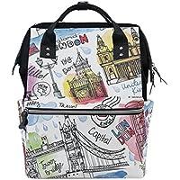ママバッグ マザーズバッグ リュックサック ハンドバッグ 旅行用 落書き 手描き ロンドン ファション