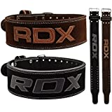 RDX Powerlifting Belt Cow Hide Leather Gym Training Nubuck Weight Lifting Double Prong Back Support Fitness Bodybuilding