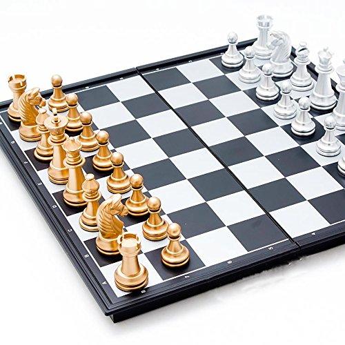 VIEAURA 金と銀のチェス 【大型サイズ32cm×32cm】 豪華なボードゲーム 折り畳み式 マグネット式 旅行 外出先でも