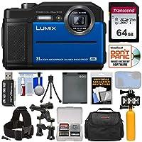 Panasonic Lumix DMC - dc-ts74K Tough衝撃&防水デジタルカメラ(ブルー) with 64GBカード+バッテリー+ケース+ LEDビデオライト+ブイ+アクションマウントキット