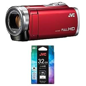 JVCKENWOOD JVC ビデオカメラ Everio 60倍ダイナミックズーム レッド GZ-E109-R + 32GB SDHCカードセット