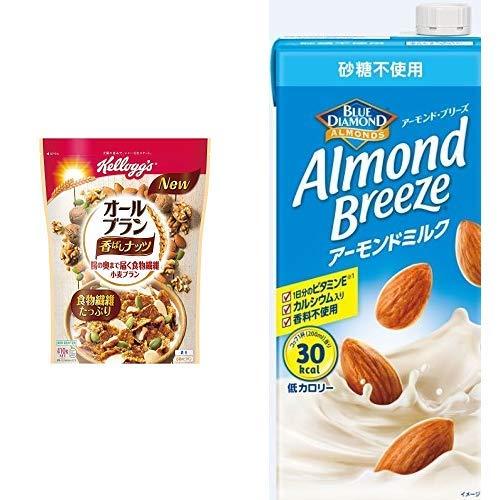 【セット買い】ケロッグ オールブラン香ばしナッツ 410g×6袋 + アーモンド・ブリーズ 砂糖不使用 1L×6本