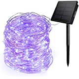 Ankway Purple Solar String Lights, 200 LED Fairy Lights 3-Strand Copper Wire Light 8 Modes 72 ft Solar String Lights Waterproof Twinkle Lights for Garden Patio Indoor Outdoor