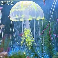 3 PCS水族館の記事装飾シリコーンシミュレーション蛍光サッカークラゲ、サイズ:5 * 17センチメートル ペット用品水族館デコレーション (色 : 黄)
