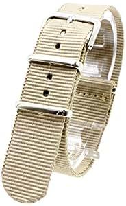 [2PiS] ( シングルベージュ : 20mm ) NATO 腕時計ベルト ナイロン 替えバンド ストラップ 交換マニュアル付 4-1-20