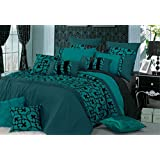 Teal with Black Flocking Pattern Quilt Cover Set, Super Soft 3 Piece Duvet Cover Set Includes 2 Pillowcases(King Size)