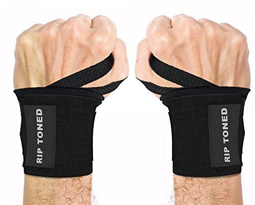 """Wrist Wraps by Rip Toned - 18"""" Professional Grade With Thumb Loops - Wrist Support Braces for Men & Women - Weight Lifting, Xfit, Powerlifting, Strength Training - Bonus Ebook (black)"""