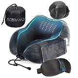 【2019年最新改良版】ネックピロー 低反発 U型まくら BeBravo 飛行機 旅行用 昼寝 首枕 コンパクト 通気性が良く 軽量 携帯枕 3Dアイマスク 収納袋付き