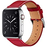 MARGE PLUS Compatible with Apple Watch Band 44mm 42mm with Case, Alligator Grain Calf Genuine Leather Strap Replacement for i