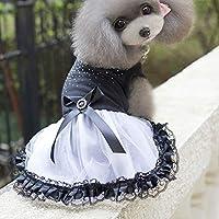 ブラック、XS:犬ペット春と夏の犬服Hondenkleding ROPAパラPERROのスーパーかわいいふわふわドットガーゼ犬ドレスプリンセススカート
