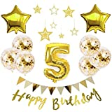 【Shiseikokusai 】 HAPPY BIRTHDAY 風船 星バルーン アルミニウム 数字(5) お子様誕生日パーティー 豪華 誕生日 飾り付け セット ゴールド(yj-xx05)