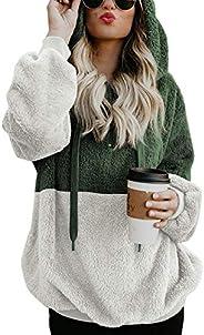 SCORP Women's Long Sleeve Fuzzy Fleece Sweatshirt Casual Loose Outwear Hoodie Coat with Pockets S-