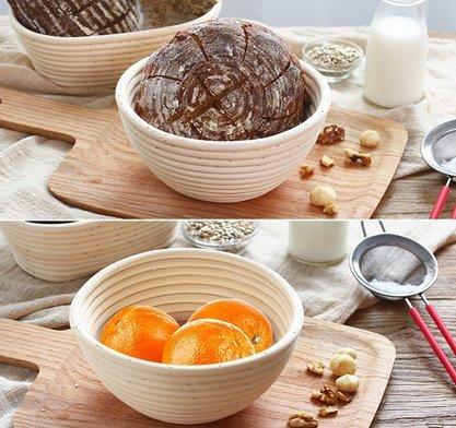 籐製醗酵カゴ パン作りの小道具 バヌトン カンパーニュ作り 22x8.5cm 1個セット